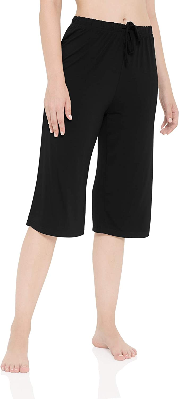 LazyCozy Bamboo Capri Pajama Pants for Women Wide Leg Lounge Pants Soft Casual Pj Bottoms Sleep Pants Lightweight Sleepwear