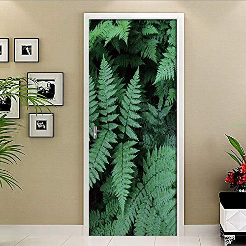 Home Decor Deur Sticker 3D Groene Plant Blad Behang Woonkamer Slaapkamer Keuken Waterdicht Vinyl Deur Muurschildering Deur Decals