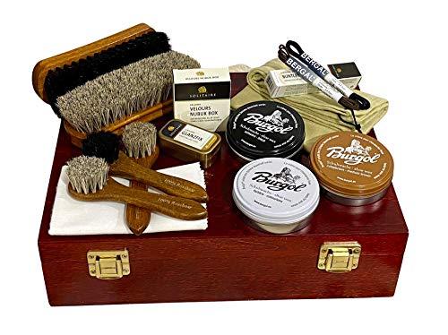 Schuhputzkasten 15tlg. befüllt mit Burgol und Solitaire Schuhpflege, Schuhputzkiste aus Holz mahagonifarben