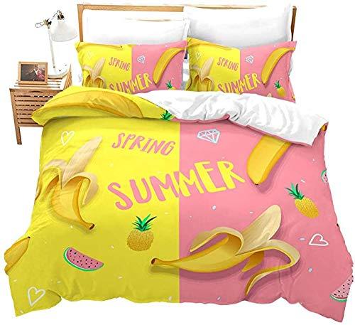 HUA JIE Cotton Bedding King Size Duvet Set Children Duvet Cover Pineapple Banana Printed Teen Bedding Set For Girls Women Kids 3 Pieces Soft Tropical Fruit Theme Comforter With Zipper Ties