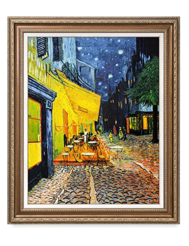 DECORARTS - Cafe Terrace at Night, Vincent Van Gogh Art Reproduction. Giclee Print& Framed Art for Wall Decor. 30x24, Framed Size: 35x29