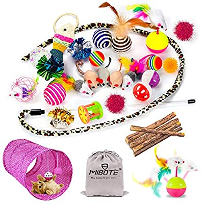 Mibote 30 Pcs Cat Toys Kitten Toys Assorted, Cat Tunnel Catnip Fish Feather Teaser Wand Fish Fluffy Mouse Mice Balls and Bells Toys for Cat Puppy Kitty with Storage Bag by MIBOTE