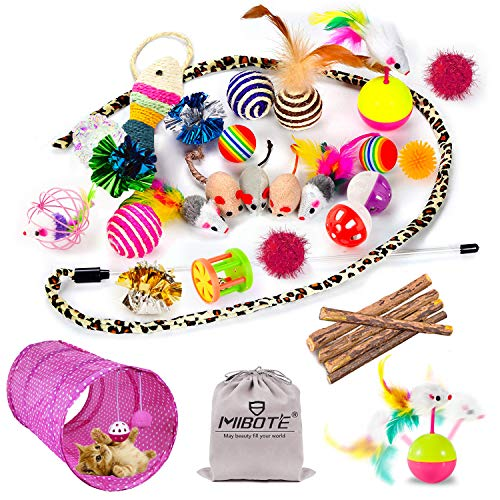 Mibote 28 Pcs Cat Toys Kitten Toys Assorted, Cat Tunnel Catnip Fish Feather Teaser Wand Fish Fluffy Mouse Mice Balls and Bells Toys for Cat Puppy...