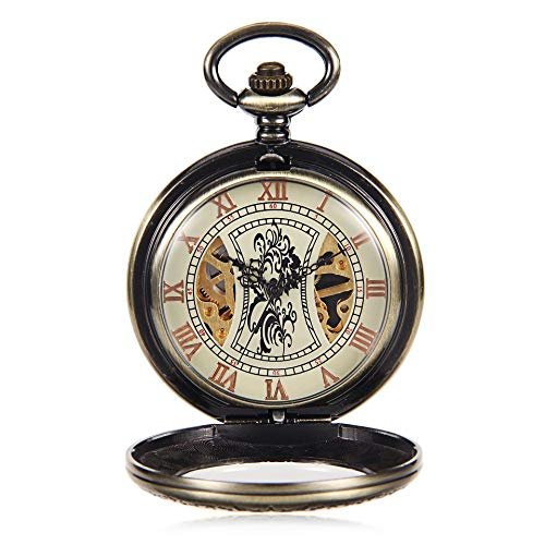 Zulux Mechanical Pocket Watches Numeri Romani Fronte Aperto con Chain degli Uomini 24 Ore Luna Sole + Gift Box
