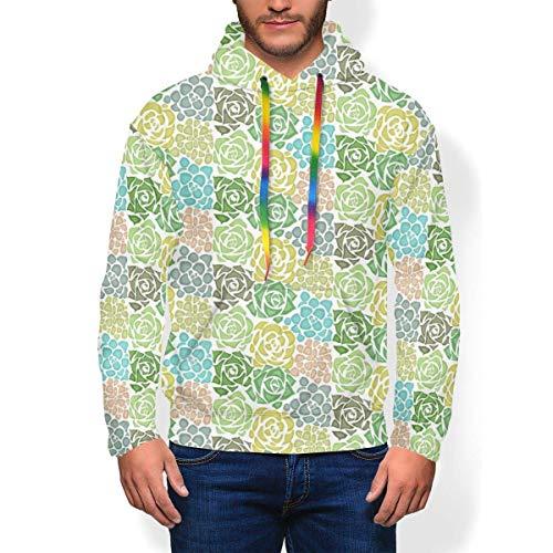 longing-summer Pull à capuche Texture Succulents Coloré Sweat-shirt à capuche pour Hommes - - XX-Large