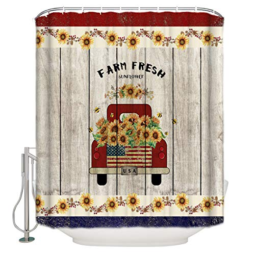 Waterproof Polyester Fabric Shower Curtain,Red Truck with Farm Fresh Sunflower USA Flag 60x72inch Curtain Decor Sets with Hooks for Bathroom Showers and Bathtubs