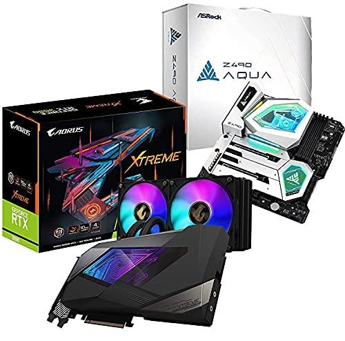 AmazinXpress Bundle � Gigabyte GeForce RTX 3080 WATERFORCE Xtreme 10GB, 320-bit, 1845MHz GDDR6X, PCI-E 4.0x16, 240mm Radiator, RGB Fusion 2.0, Backplate + ASRock Z490 Aqua E-ATX Motherboard LGA 1200