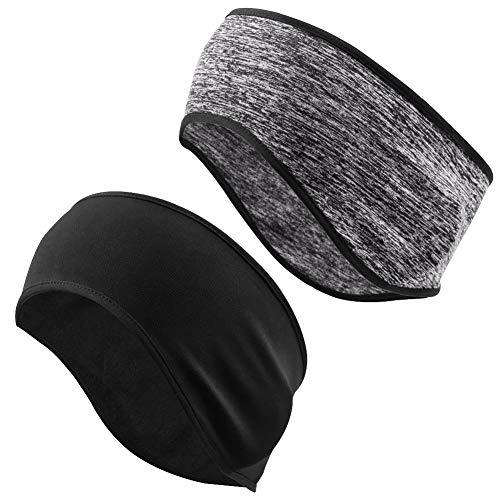 Mture Sport Stirnband, Stirnbänder Winter Ohrenwärmer Dehnbar Stirnband Sport Ohrenschützer Thermal Headband für beim Jogging, Wandern, Fahrrad und Motorrad Fahren(Schwarz + Grau)