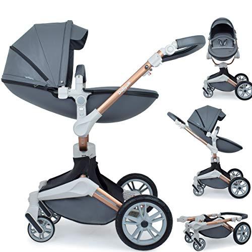 Daliya ® 2in1 360° Turniyo Kinderwagen Kombikinderwagen Buggy mit Babywanne & Sportsitz, inklusive Babyschalen-Adapter, Aluminium Rahmen (2in1, Dunkel Grau)