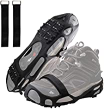 AGOOL Ice Cleats Snow Traction Cleats Crampons for Walking on Snow and Ice Non-Slip Overshoe with Removable Magic Tape Straps Rubber Anti Slip Crampons Slip-on Stretch Footwear