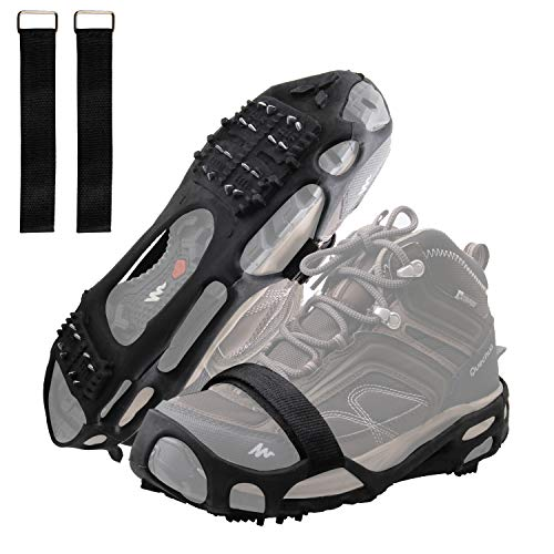 AGOOL Ice Cleats Traction Cleats Ice Grip Snow Grippers with Removable Velcro Strap Non-Slip Over Shoe Rubber Spikes Crampons Anti Slip Crampons Stretch Footwear (Large(7.5-10 men/9-11 Women))