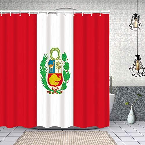 Cortina de Baño con 12 Ganchos,Bandera Peru,Cortina Ducha Tela Resistente al Agua para baño,bañera 180X180cm