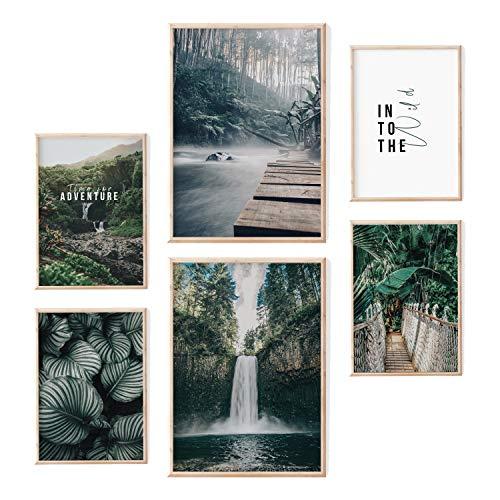 myDreamwork Hochwertiges Poster Set   Ästhetik   Jungle Adventure   6 erlesene Bilder – ohne Rahmen   2x A3 und 4x A4