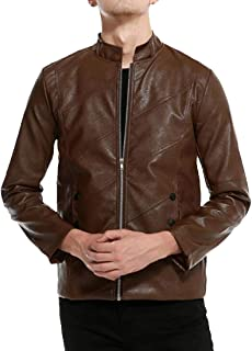 Fensajomon Men Faux Leather Motorcycle Slim Stand Collar Full-Zip Jacket Trench Coat Outerwear
