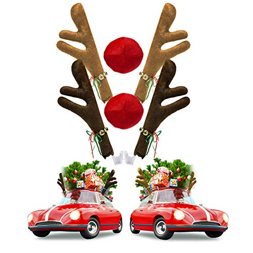 Joyjoz 2 Pack Christmas Car Reindeer Antler Decoration Kit with Nose, Reindeer Jingle Bell Christmas Costume, Auto Accessories Decoration Kit for Car Windows and Front Grille, Xmas Gift Set