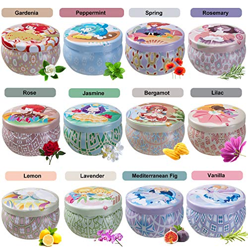 Bauhinia 12 Constellations Scented Candles Soy Wax Tin Candles, Natural Fragrance Candles for Stress Relief and Aromatherapy Candles Set of 12