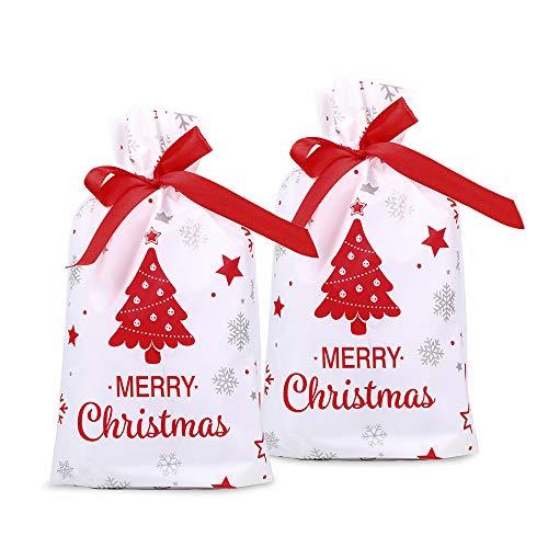 FLOFIA 50pcs Bolsas Bolsitas de Regalo Navidad Pequeñas Bolsas Plástico Navidad Con Cordón para Caramelos Dulce Chuche Galletas Regalos de Fiesta DIY Calendarios de Adviento (Árbol de Navidad)