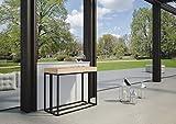 Itamoby, Mesa extensible Melissa pequeña, paneles de listones de abeto y marco de hierro antracita, color abeto natural, 90 x 77 x 40 cm, extensible hasta 190 cm