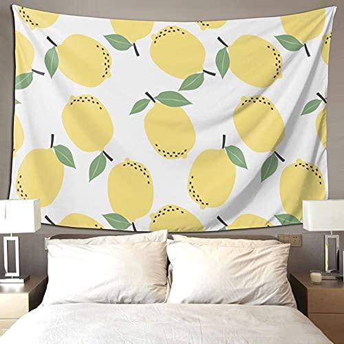 Verano Vibe Tropical Fruta Limón Amarillo Decoración de la habitación Tapiz Colorido para Dormitorio Estética Pared Tapiz 90*60 pulgadas Prioridad Envío