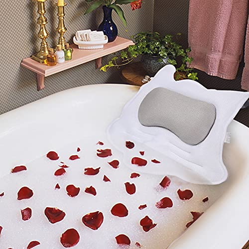 Bath Pillows for Tub, Spa Pillows for Bathtub, 5D Air Mesh Bathroom Pillow, With 5 Non-Slip Powerful Suction Cups, Ergonomic Bath Pillow for Neck, Head & Shoulders and Back Support