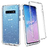 BENTOBEN Galaxy S10 Case, 2 in 1 Transparent Heavy Duty Rugged Shockproof Hybrid Hard PC Cover Soft TPU Bumper Protective Phone Case Cover for Samsung Galaxy S10 2019, Crystal Clear Silver Glitter