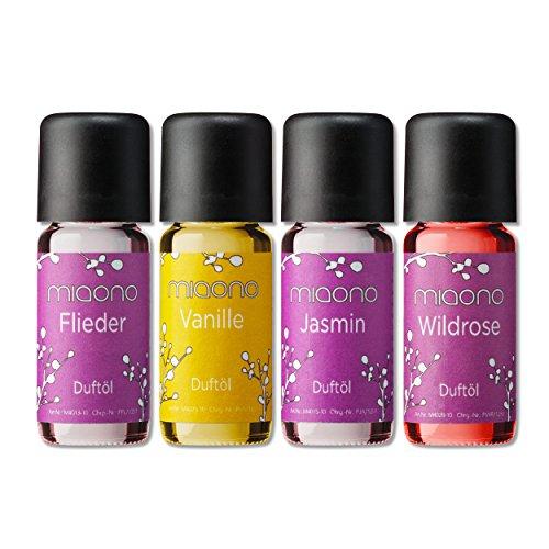 Duftöl Set - Romantik - Flieder, Vanille, Jasmin, Wildrose - Aromaöl für Duftlampe und Diffuser von miaono