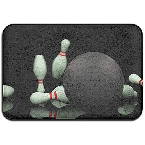 Snbin Alfombrilla Antideslizante Resistente a la decoloración de la Puerta Bolos de Bolos Negros Alfombra Interior para Sala de Estar 40 * 60 cm