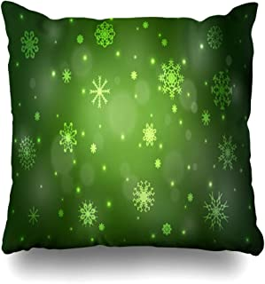 Ahawoso Throw Pillow Cover Square 20x20 Green Celebration Template Shape Cover Graphic Ice Snowflakes Decoration Holiday Origami Textures Zippered Cushion Case Decorative Pillowcase Home Decor