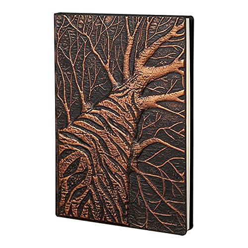 Chytaii - Cuaderno de notas A5 con relieve de bronce y piel sintética, 100 hojas de papel de letras, diseño de alivio de árbol, cuaderno vintage