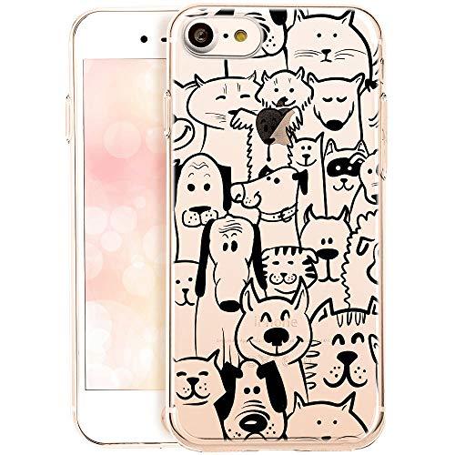 QULT Carcasa para Móvil Compatible con Funda iPhone SE 2020, iPhone 7/8 Silicona Dibujos Transparente Suave Bumper Teléfono Caso Animales(DESECHABLE)