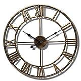 Relojes de jardín al Aire Libre Impermeable, números Romanos Relojes de Interior y Exterior para el jardín Montado en la Pared Metal Precisión Mute Colgante Reloj Exterior con Pilas Redondo 40cm