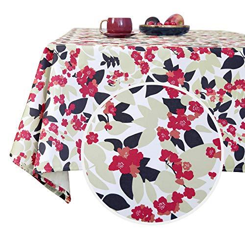 Deconovo Waterbestendig en Afwasbaar Tafelkleed met Bloemen Patroon