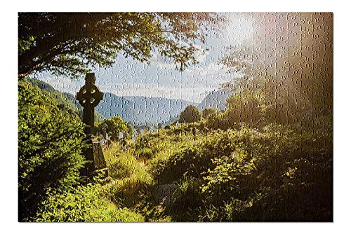 Ireland - Old Celtic Cross in Glendalough, Wicklow Mountain - Photography A-92043 92043 (Premium 500 Piece Jigsaw Puzzle for Adults, 13x19, Made in USA!)