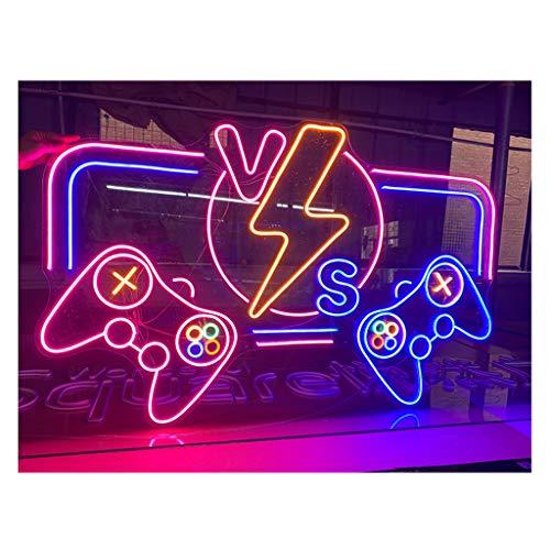Letreros de Neón Led Gamepad / Consola de Juegos Letreros Publicitarios de Neón en Forma de Luces LED para Puertas Exteriores Luces de Ambiente de Decoración de Pared de Videojuegos (31.5x20.5 Pulga