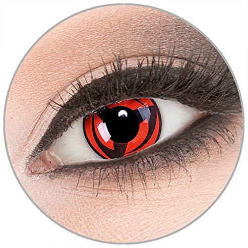 Farbige 'Kakashi' Kontaktlinsen von 'Evil Lens' zu Fasching Karneval Halloween 1 Paar rote schwarze Crazy Fun Kontaktlinsen mit Behälter in Topqualität ohne Stärke