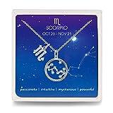 Qings Escorpio Collar de Constelación Zodiaco Plata Esterlina Colgante Mujer