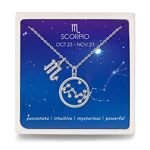 Qings Halskette Damen 925 Silber Skorpion Sternzeichen Kette mit Kreis Stern Zirkonia Konstellation Anhänger, Hals-Schmuck Kette für Frauen Mädchen