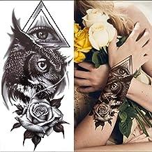 Tatuagem temporária Coruja Olhos Flores Cosplay
