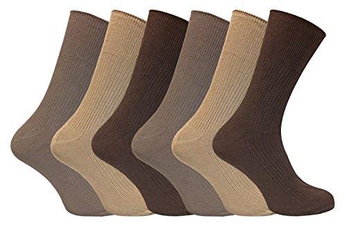 Sock Snob 6 pares hombre 100% organico algodon finos largos calcetines sin elastico para la circulacion (39-45 eur, TSFD02)