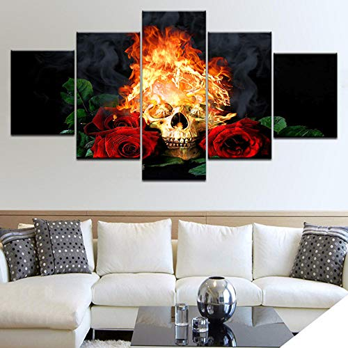 ZLARGEW 5panel HD Impreso Rose Skeleton with Flame Wall Posters Print On Canvas Art Painting para la...