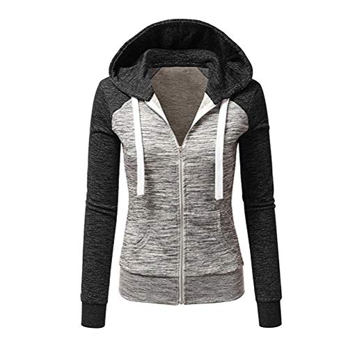 ORANDESIGNE Jacke Damen Sweatjacke Hoodie Sweatshirt Pullover Oberteile Kapuzenpullover V Ausschnitt Patchwork Pulli mit Kordel und Zip A Schwarz 40