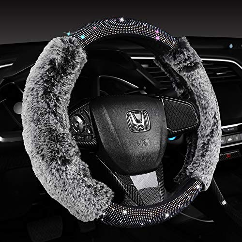 Women Fashion Fluffy Bling Steering Wheel Cover with Diamonds and Fur, Black, 15 inch Standard Furry Car Wheel Cover Sparkling, Warm, Comfy