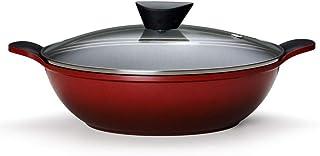 Panela Wok em Alumínio 28cm Neoflam Vermelha