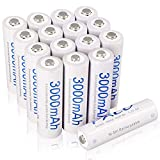 PALO AA 3000mAh NI-MH Rechargeable Batteries High Capacity Battery with 4 Storage Cases, 16 Pack