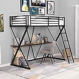 Nicoone Steel&MDF Twin Loft Bed with Desk, Loft Bed with Ladder and Full-Length Guardrails, X-Shaped Frame,for Living Room, Bedroom, Dorm Room, Game Room Black