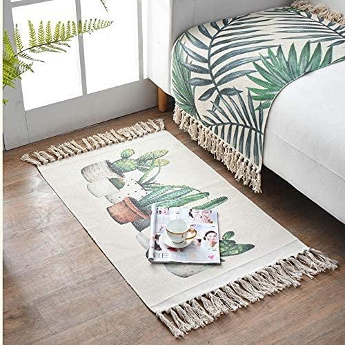 Teppich klein bunt für Küche, WC, Badezimmer, Eingangsbereich innen, Balkon, Vintage mit Fransen waschbar 60x90 cm