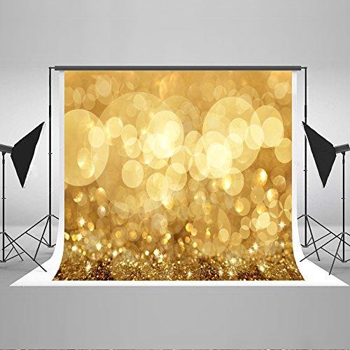 KateHome PHOTOSTUDIOS Fotografia di Matrimonio Sfondo 10 × 10ft (3 × 3m) Scintillio Giallo Scuro Sfondo per Foto Pieghevole in Microfibra Puntelli Fondali in Studio