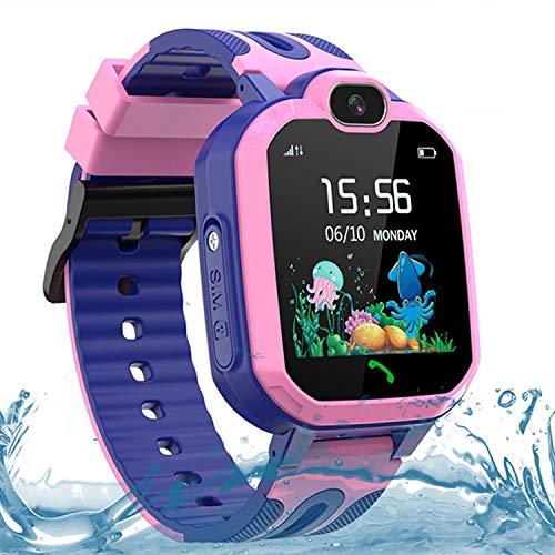 Kinder Smartwatch Telefon Uhr, Smartwatch Kinder Wasserdicht für Jungen und Mädchen, Smartwatch mit SOS, LBS, Sprachchat, Kamera, Zahlenspiel (Rosa)