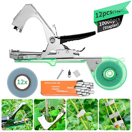 KING DO WAY Atadora Agricola kit de Herramientas, Mano Atado Cinta Máquina Agricultura Carpeta de Acero Inoxidable para la Encuadernación de Ramas para Planta Flores Frutas Verduras Vine