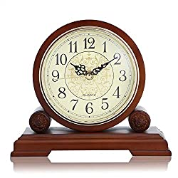 SHISEDECO Mantel Clock with Real Wood, Antique Vintage Design, Decorative Clock, Battery Operated(Full Range Available) (MC1018)